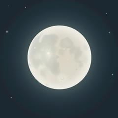 Realistic moon. Vector illustration