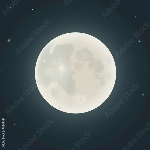 Realistic moon. Vector illustration - 78549881