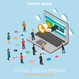 Social media marketing online promotion flat 3d web isometric