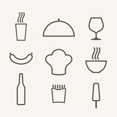 Food. Icon set. Outline