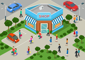 Shop building local store sale flat 3d web isometric concept
