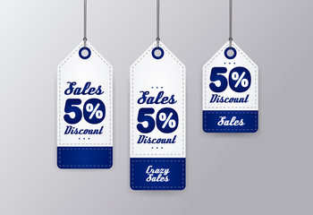 50% sale realistic blue price tag set isolated on gray