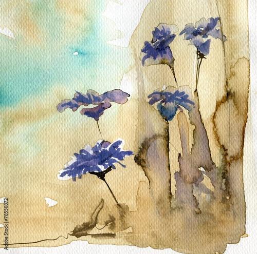Fototapeta Kwiaty w akwarelach