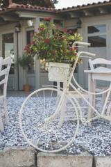 Vintage white bicycle.
