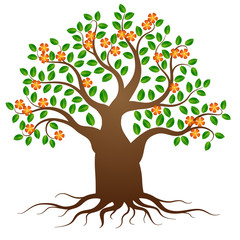Green tree with roots and flowers on white background