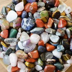 Colorful semi precious stones background