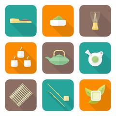 vector flat design japan tea ceremony equipment icons set.