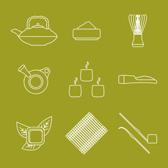 vector outline japan tea ceremony equipment icons set