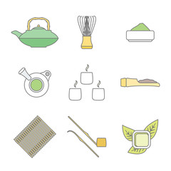 vector colore outline japan tea ceremony equipment icons set