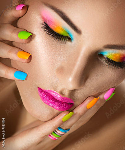 canvas print picture Beauty girl portrait with vivid makeup and colorful nailpolish