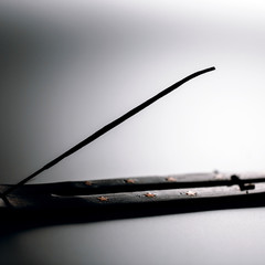 Incense stick on a wooden support on a white background