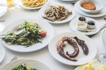 Table in greek restaurant
