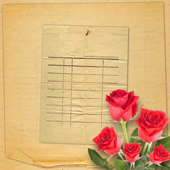 Old vintage card with a beautiful red rose on paper background