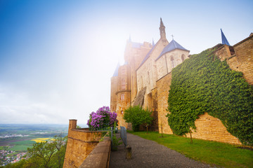The wall with ivy of beautiful Hohenzollern castle