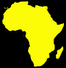 Africa Yellow Map On Black