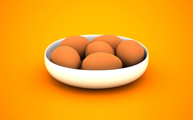 3d illustration of eggs on a white plate. Easter breakfast food.