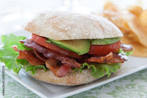 Fotobehang Snack Bacon Lettuce Tomato Sandwich
