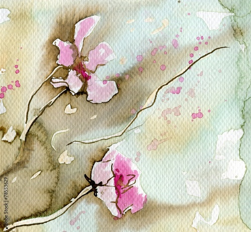 Poster Schilderkunstige Inspiratie pink flowers