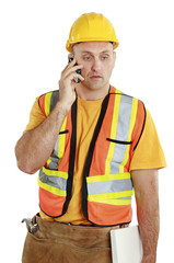 Studio portrait of a construction worker on white