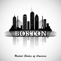 Boston skyline. City silhouette