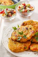 Potato pancakes with vegetables