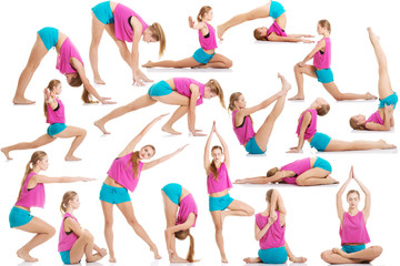 Young caucasian woman is doing exercises.