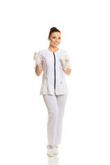 Female nurse holding a drip