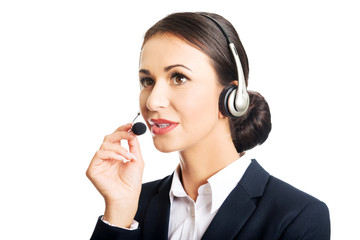 Portrait of call center woman talking to customer