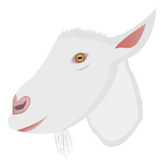 Vector cartoon portrait of small goat