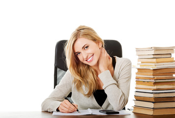 Woman preparing to exam