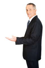 Businessman holding something invisible