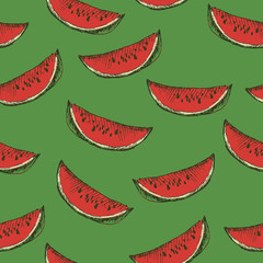 Seamless pattern with slices of watermelon.