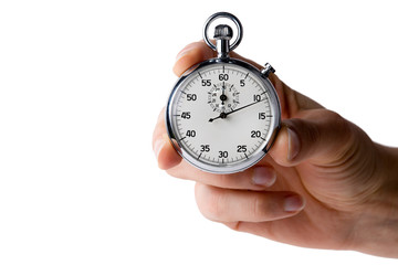 stopwatch hold with three fingers, white background