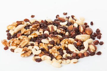 Mix of nuts close up on white.  mixed nut