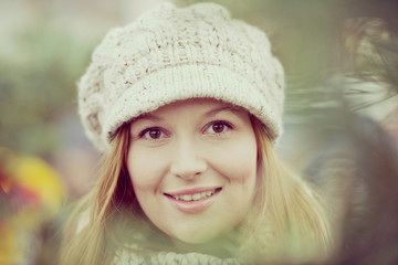 Attractive woman with winter hat.