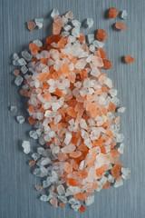 Himalayan Crystal Rock Salt on brushed metal background