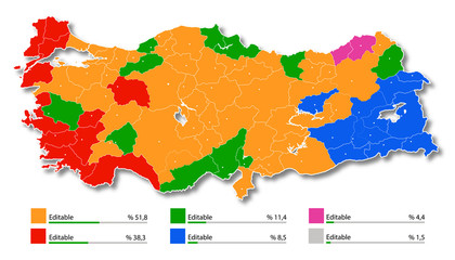 Turkey, highly detailed election map