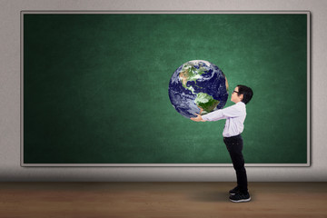 Boy with a globe of the world
