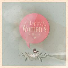 Happy Women's Day tweeting bird