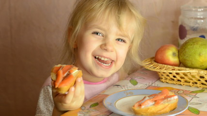 Funny Cute Little Girl Eat Salmon Fish