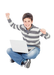 Happy boy with a tablet