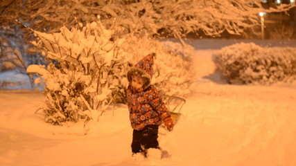 Child Sledding in Snow, Kid Playing, Sledging in Park in Winter,