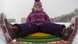 Child Sledding  and Crash, Kid Playing, Slow Motion