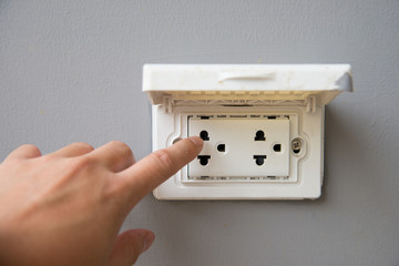Thailand plug socket with cover protection on grey background