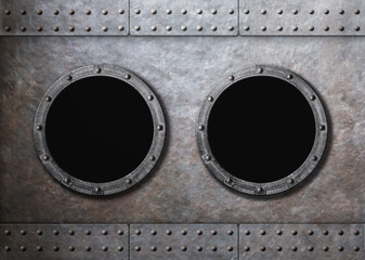 submarine old ship two portholes background