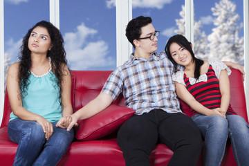 Man betraying his girlfriend
