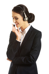Female phone operator in headset