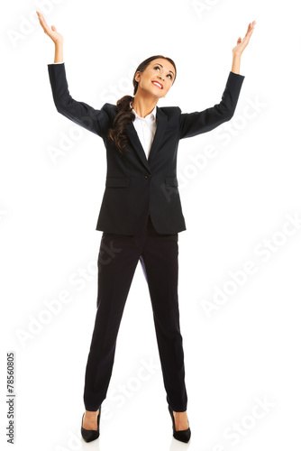 canvas print picture Businesswoman holding copyspace