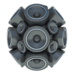 3D audio speakers sphere isolated on white background
