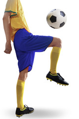 Soccer player training with the ball